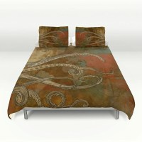 Octopus Bedding Grunge Tentacles World Map by FolkandFunky