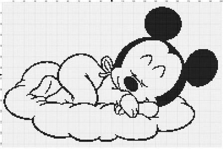 Filet Crochet Pattern Disney Sleeping Baby Mickey Mouse