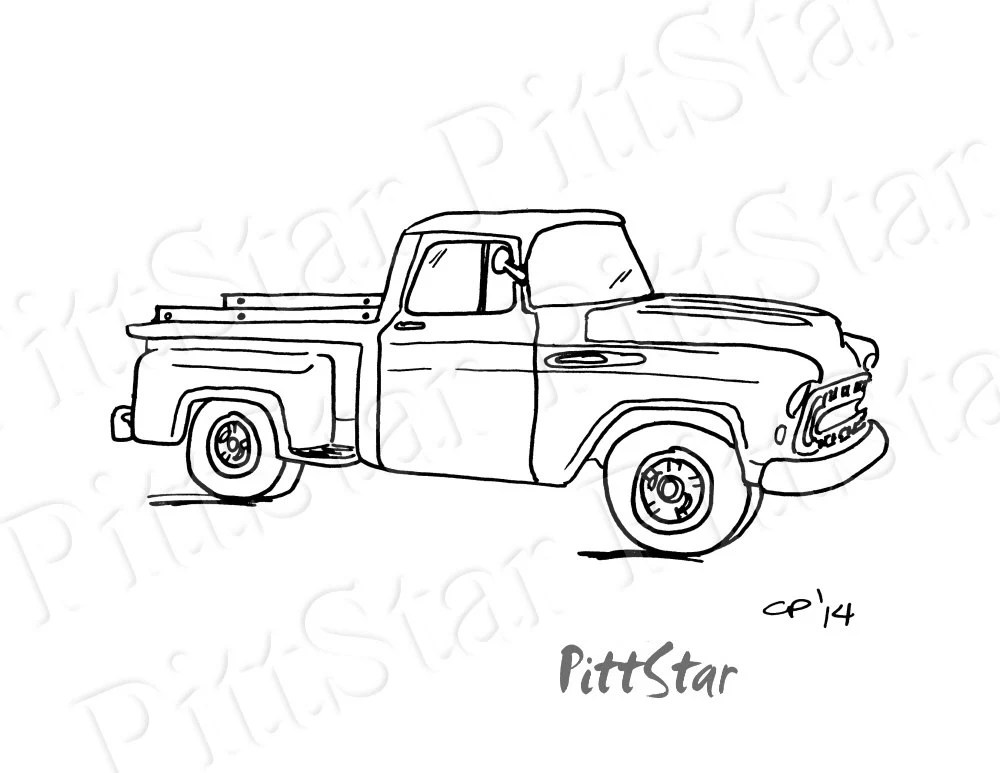 Instant Download Vintage 57 Chevy Pickup Printable