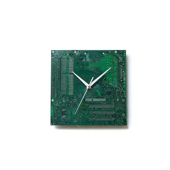 Green Circuit Board Clock Boyfriend Gift Father Gift By Clocklight