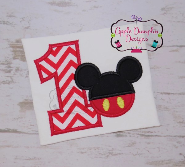 Mickey Mouse 1st Birthday Applique Design Machine Embroidery