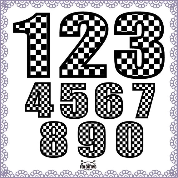 Download Checkered Numbers Cut Files Svg Eps Dxf. for use with your