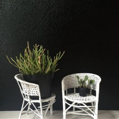 Chair Planter Stand Rustic Kitchen Chairs White Woven Wicker Rattan Plant