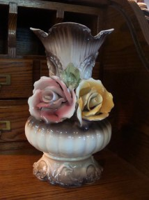 Large Capodimonte Vase Signed Bassano In Italy Roses