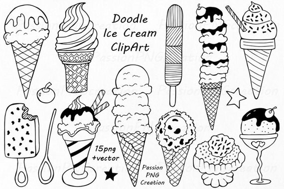 Doodle Ice Cream ClipArt Digital Ice Cream Hand drawn Ice