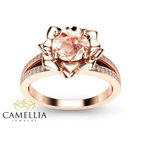 Morganite Flower Engagement Ring 14K Rose Gold Flower