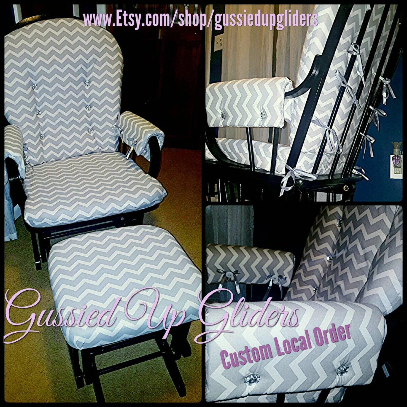 Custom Glider Cushion set and arm rests custom by