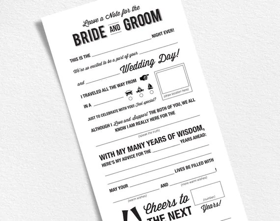 Wedding Mad Libs Printable Template Wedding Keepsake