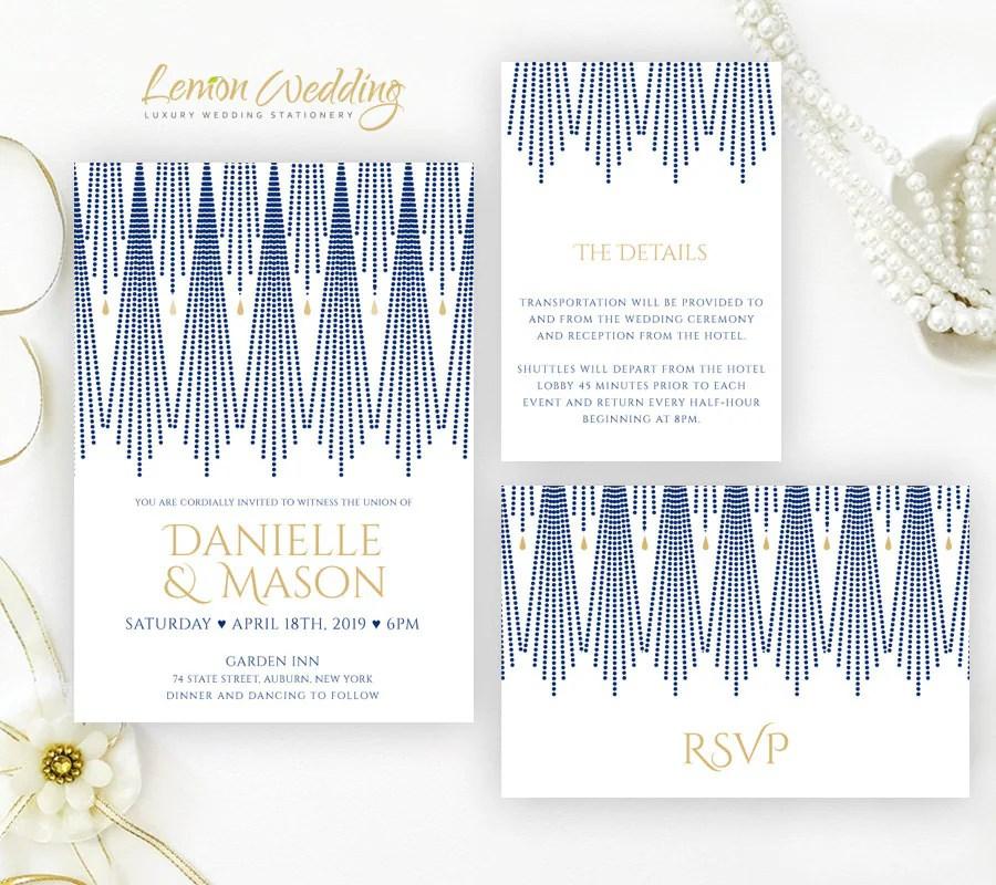 Art Deco Wedding Invitation sets printed Navy blue and gold