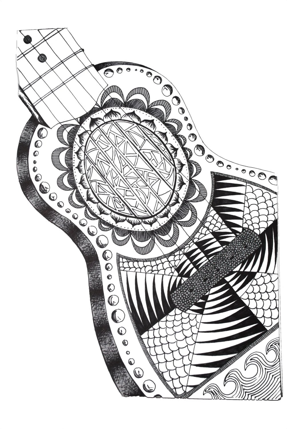 Guitar Zentangle Photo Print by AmartsArt on Etsy