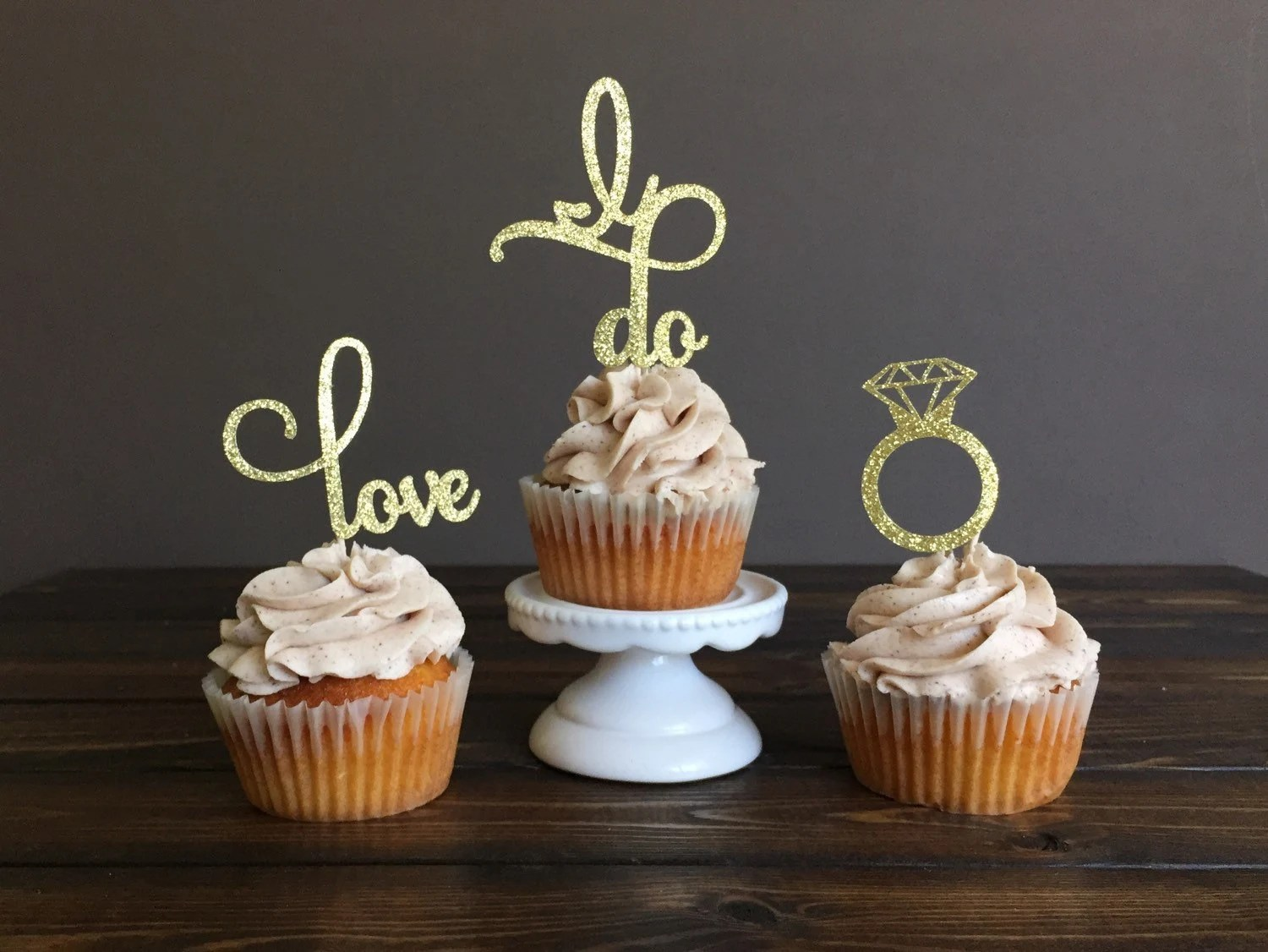 Engagement cupcake toppers bridal shower cupcake toppers