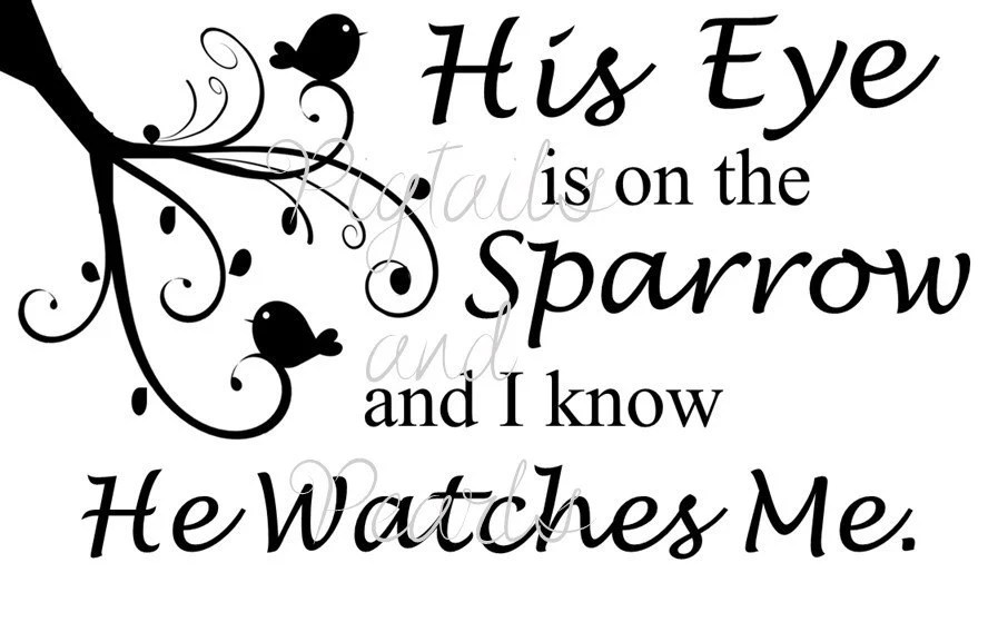 His eye is on the sparrow svg eps dxf fcm and jpeg vinyl