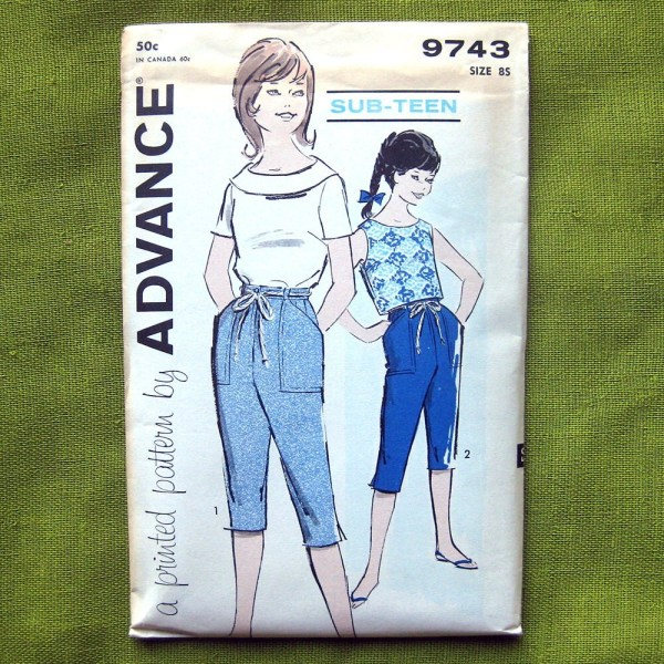 1960s Girls Top And Capris Vintage -teen Sewing Pattern