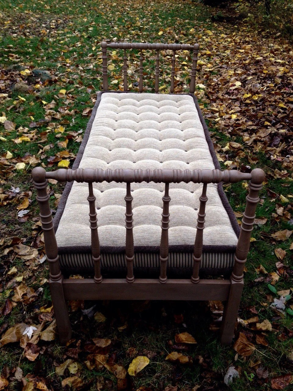 Rare Antique Jenny Lind Daybed French Tufted Mattress FREE
