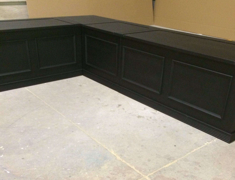 Black Laquer Corner Bench Seat With Storage