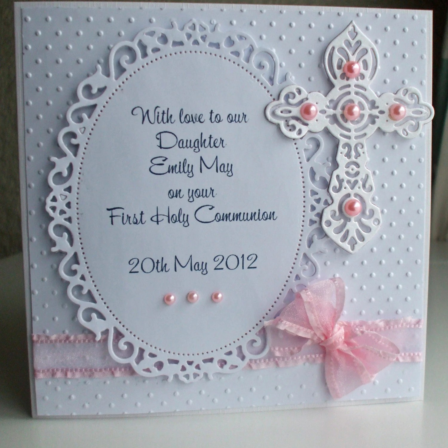 Handmade Personalized First Holy Communion Card By
