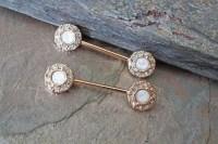 White Opal Rose Gold Nipple Ring Nipple Piercing Nipple