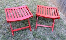 Pair Wooden Stools Chippy Red Painted Collapsible Wood