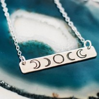 Moon phase necklace, bar necklace, phases of the moon necklace, sterling silver necklace, moon necklace, zenned out
