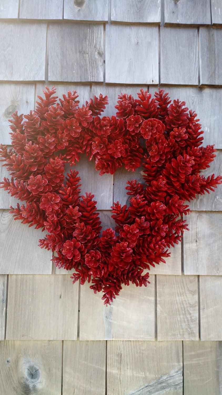 Valentines Wreath Love Wreath Red Heart Pinecone Wreath