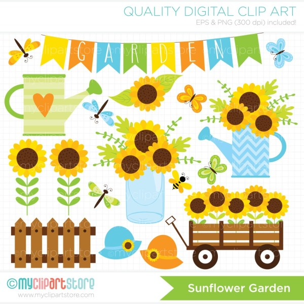 clipart sunflower garden spring