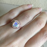 Fire Opal Engagement Ring Rose Gold Opal Ring Halo Ring