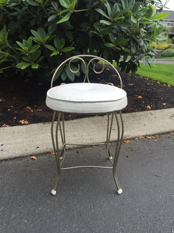 Vintage Vanity Chair Hollywood Regency Stool Mid