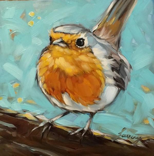 Robin Painting 6x6 Impressionistic Original Oil