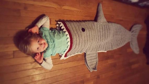 Crochet Shark Blanket Cocoon wrap snuggie cozy