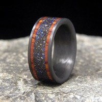 Blue Twilight Meteorite Shavings with Cocobolo Band Inlays