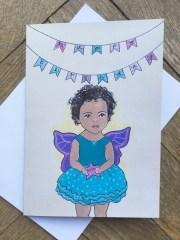 birthday card mixed race girl cute