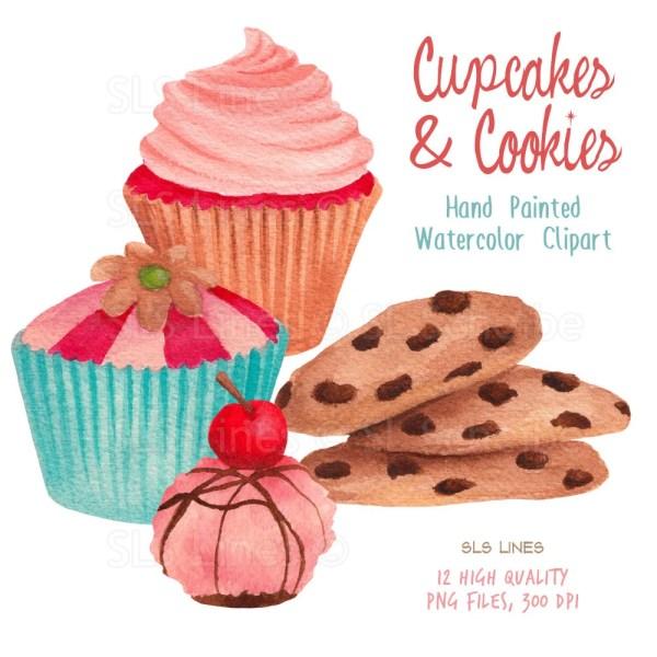 cupcake watercolor clipart cookies
