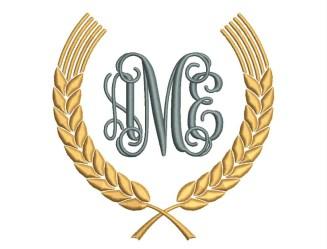 monogram leaf frame border designs embroidery