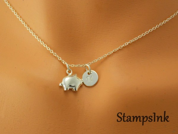 Pig Necklace Tiny Pigglet Charm Jewelry