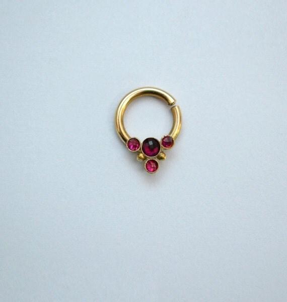 Gold Nipple Ring Ruby Nipple piercing Tragus jewelry Ruby