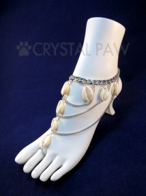 Natural Seashell Barefoot Sandals. Silver Chain Foot Jewelry