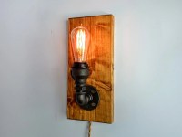 Wall Sconce on wooden base Wall lamp Industrial lighting