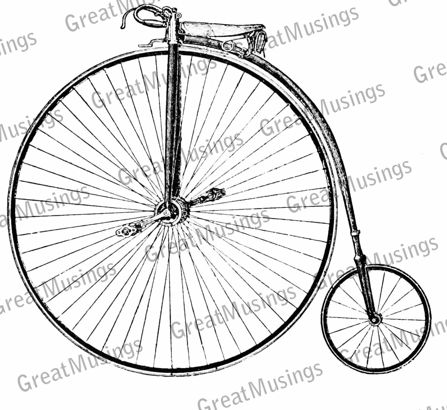 Vintage Penny Farthing Bicycle bike image black and white