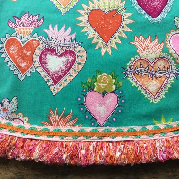 Mexican Tablecloth Sacred Hearts Green Pink Orange Special