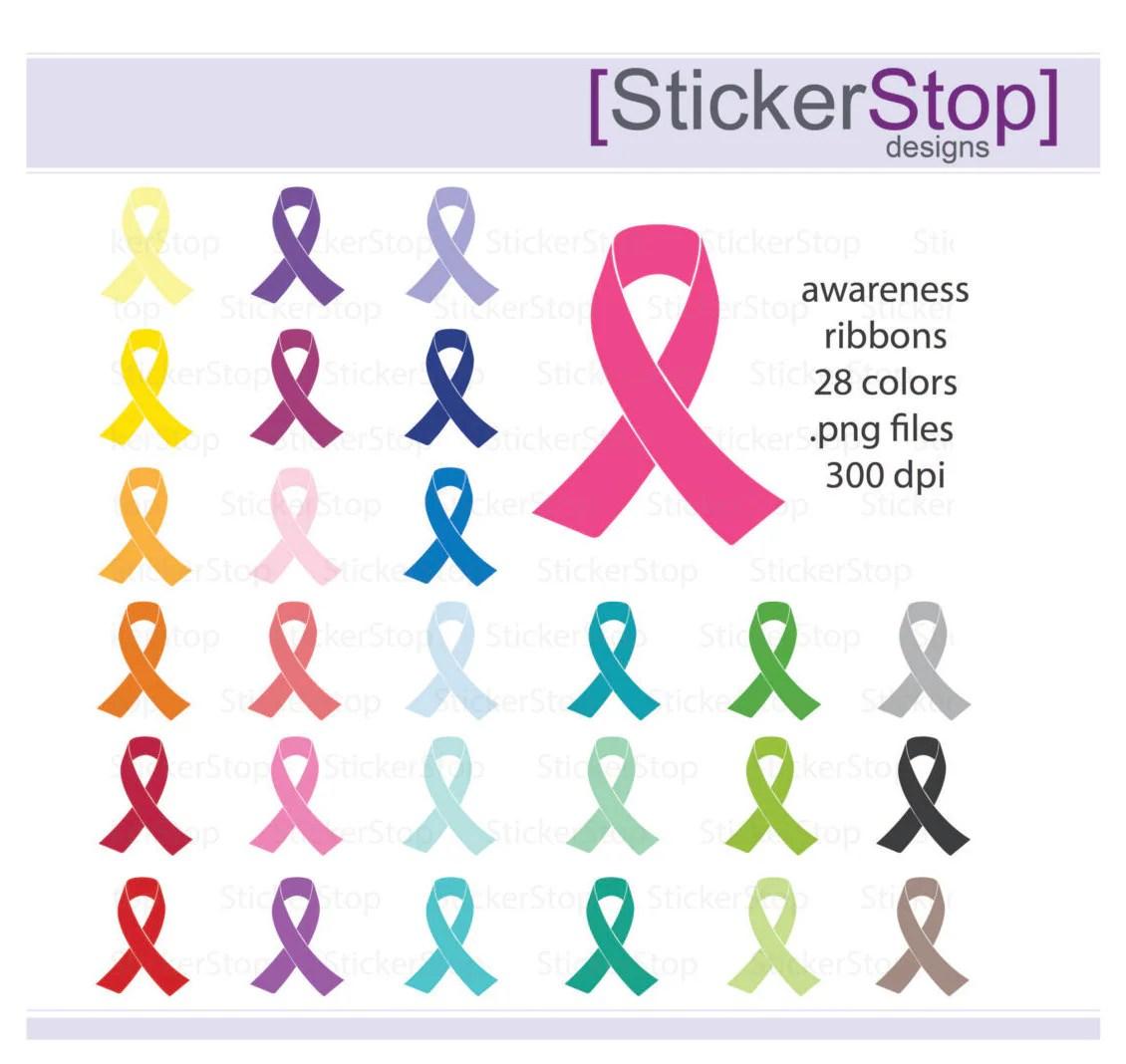 Awareness Ribbons Clipart 28 Colors Digital Clipart