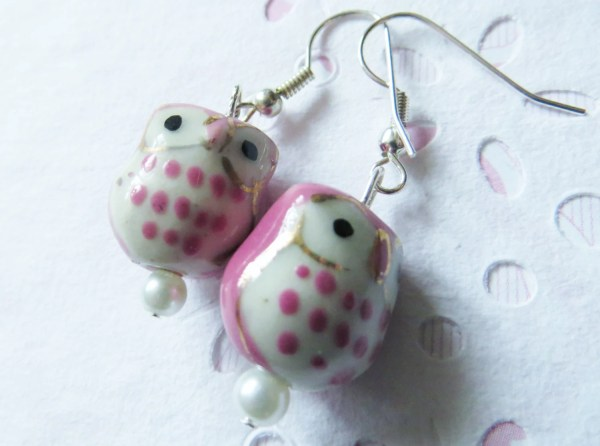 Pink Owl Earrings Little Girl Tween Teen