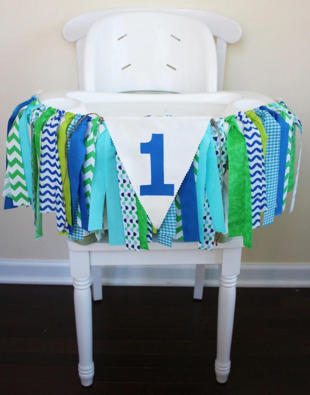 high chair for boy folding barber blue green aqua highchair banner 1st birthday