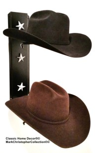 Cowboy Hat Holder Black with Silver Stars