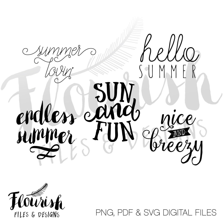 Summer Scripty Saying Digital Cut Files Svg
