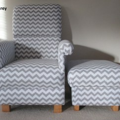 Gray Chevron Chair Lounge Cushions Cheap Zig Zag Grey Fabric Adult And Footstool White