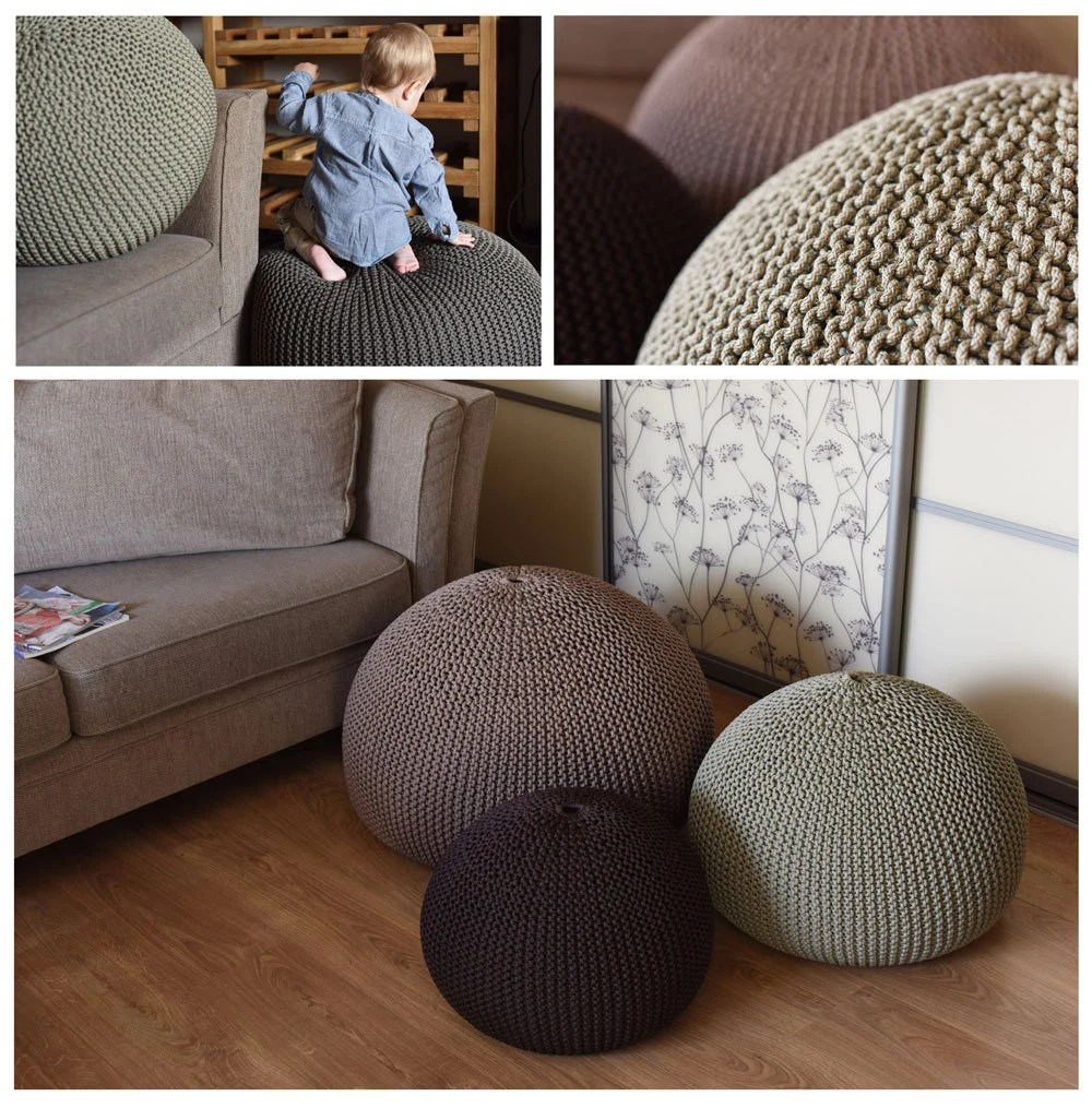 UNFILLED Knitting Bean Bag Cover Pouf Home Decor Rope
