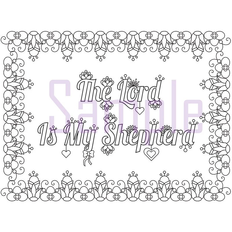 Words The Lord Is My Shepherd Adult Coloring Page by SueAtHCS
