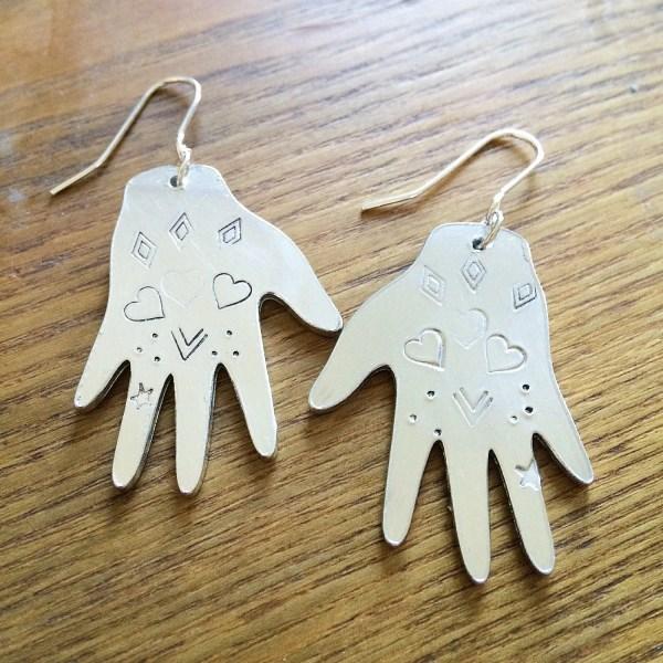 Heart Design Hand Earrings Frida Kahlo Stuffmadefromthings