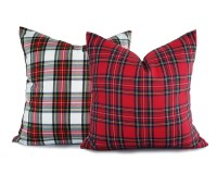 Pair Christmas Pillow Covers Holiday Pillow Sets White Red