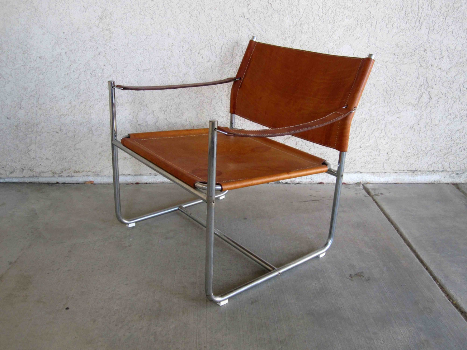 Canvas Sling Chair Vintage Mid Century Sling Chair In Leather And Chrome By